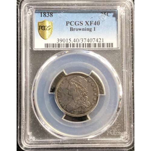 1838 Capped Bust  Browning 1  PCGS XF-40