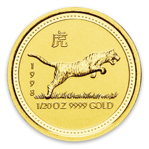1998 1/20oz  Australian Perth Mint Gold Lunar: Year of the Tiger