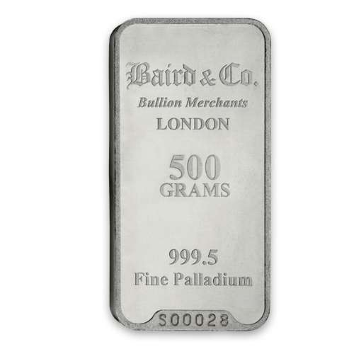 500g Baird & Co Palladium Minted Bar