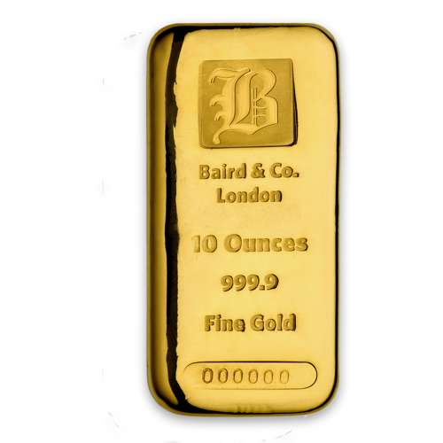 10oz Baird & Co Cast Gold Bar