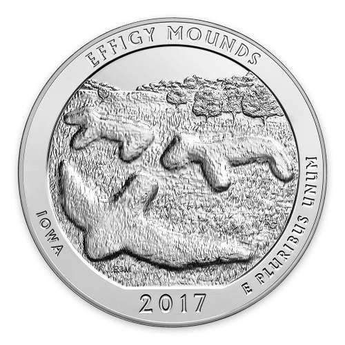 2017 5 oz Silver America the Beautiful Effigy Mounds National Monument