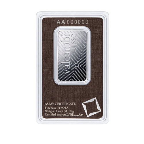 1oz Valcambi Minted Platinum Bar