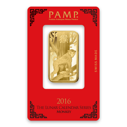 1oz PAMP Gold Bar - Lunar Monkey