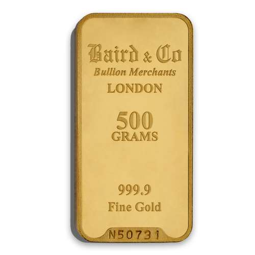 500g Baird & Co Minted Gold Bar