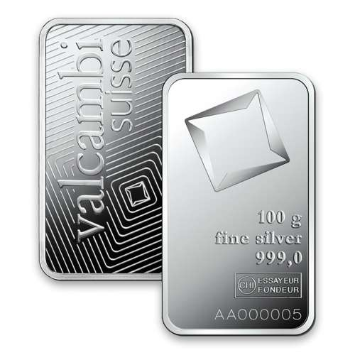 100g Valcambi Minted Silver Bar