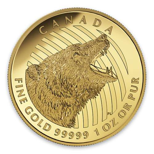 2016 1oz Canadian Roaring Grizzly Bear - 99999