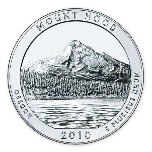 2010 5 oz Silver America the Beautiful Mount Hood National Park
