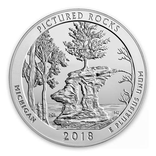 2018 5 oz Silver  America the Beautiful Pictured Rocks National Lakeshore