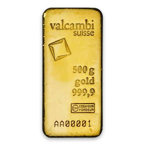 500g Valcambi Minted Gold Bar